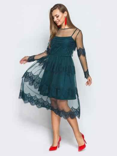 Платье-комбинация с талией на резинке и кружевой зелёное - 18245, фото 2 – интернет-магазин Dressa