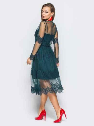 Платье-комбинация с талией на резинке и кружевой зелёное - 18245, фото 3 – интернет-магазин Dressa