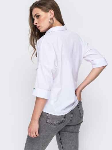 Белая рубашка с вышивкой и v-вырезом 45743, фото 2
