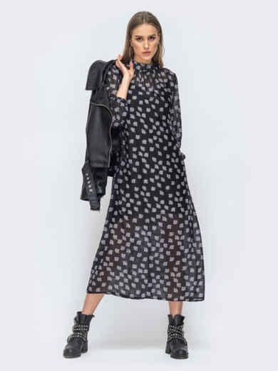 Чёрное платье из шифона с цветочным принтом 45731, фото 2