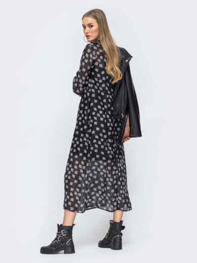 Чёрное платье из шифона с цветочным принтом 45731, фото 3