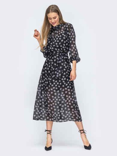 Чёрное платье из шифона с цветочным принтом 45731, фото 4