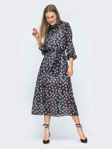 Чёрное платье из шифона с цветочным принтом 45731, фото 5