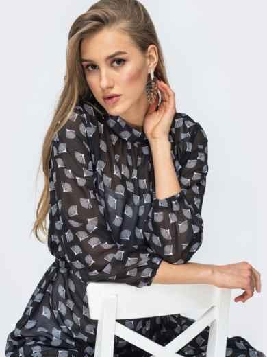 Чёрное платье из шифона с цветочным принтом 45731, фото 6