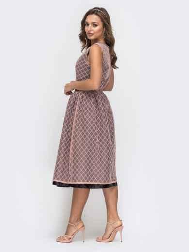 Двухслойное платье с расклешенной юбкой розовое 45738, фото 2