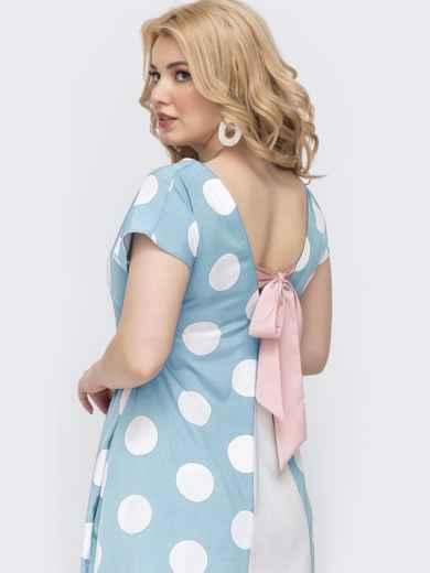 Платье батал в горох с вырезом по спинке голубое 48408, фото 1