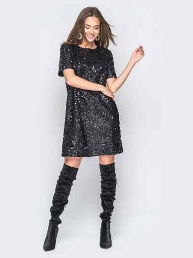 Платье черного цвета с пайетками - 18300, фото 1 – интернет-магазин Dressa