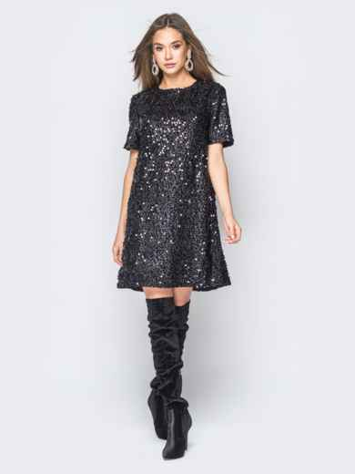 Платье черного цвета с пайетками - 18300, фото 2 – интернет-магазин Dressa