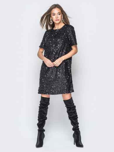 Платье черного цвета с пайетками - 18300, фото 3 – интернет-магазин Dressa