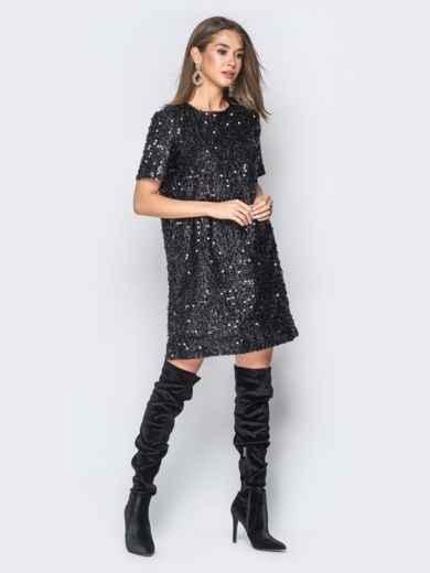 Платье черного цвета с пайетками - 18300, фото 4 – интернет-магазин Dressa