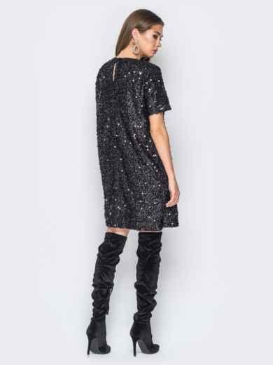Платье черного цвета с пайетками - 18300, фото 5 – интернет-магазин Dressa