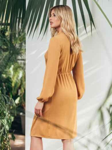 Платье на пуговицах с воротником-аскот желтого цвета 45835, фото 3