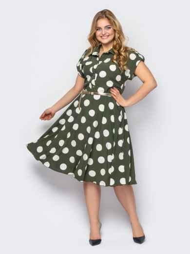Платье-рубашка большого размера в горох хаки 53601, фото 1