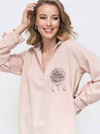 Рубашка с вышивкой и удлиненной спинкой бежевая 45745, фото 2