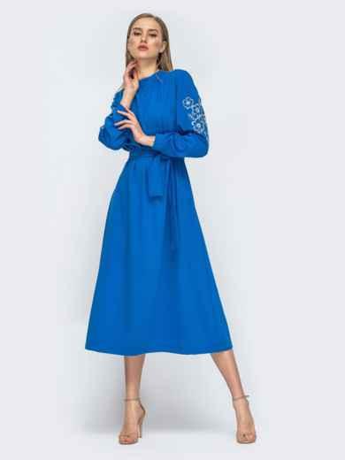 Синее платье-макси с вышивкой на рукавах 45741, фото 1