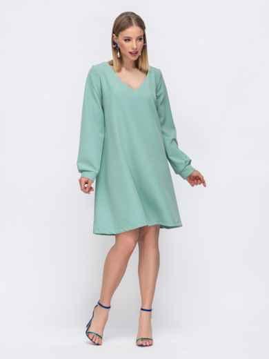 Зеленое платье с v-вырезом 45740, фото 1