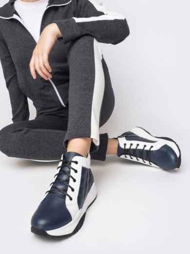 Зимние ботинки из натуральной кожи на толстой подошве синие - 41669, фото 1 – интернет-магазин Dressa