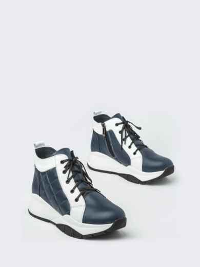 Зимние ботинки из натуральной кожи на толстой подошве синие - 41669, фото 2 – интернет-магазин Dressa