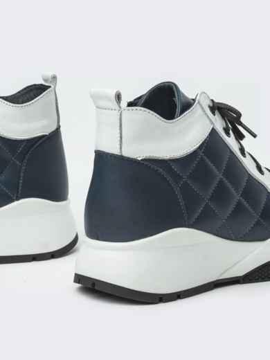 Зимние ботинки из натуральной кожи на толстой подошве синие - 41669, фото 3 – интернет-магазин Dressa