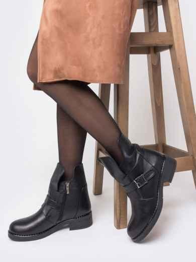 Зимние ботинки из натуральной кожи с фигурным верхом чёрные - 41664, фото 1 – интернет-магазин Dressa