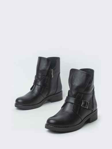 Зимние ботинки из натуральной кожи с фигурным верхом чёрные - 41664, фото 2 – интернет-магазин Dressa