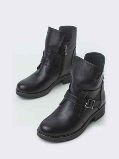 Зимние ботинки из натуральной кожи с фигурным верхом чёрные - 41664, фото 3 – интернет-магазин Dressa