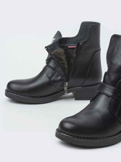 Зимние ботинки из натуральной кожи с фигурным верхом чёрные - 41664, фото 4 – интернет-магазин Dressa