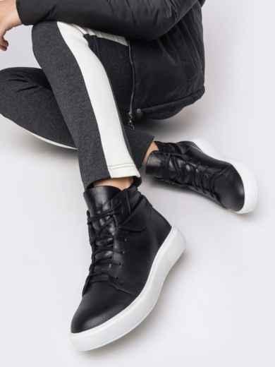 Зимние кеды из натуральной кожи чёрного цвета - 41662, фото 2 – интернет-магазин Dressa
