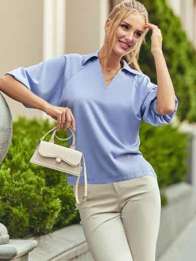 Голубая блузка с отложным воротником и V-образным вырезом 54611, фото 1