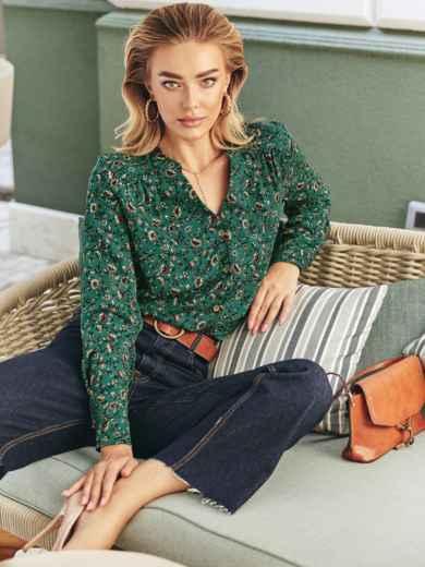 Блузка из штапеля с принтом и длинным рукавом зеленая 54613, фото 1