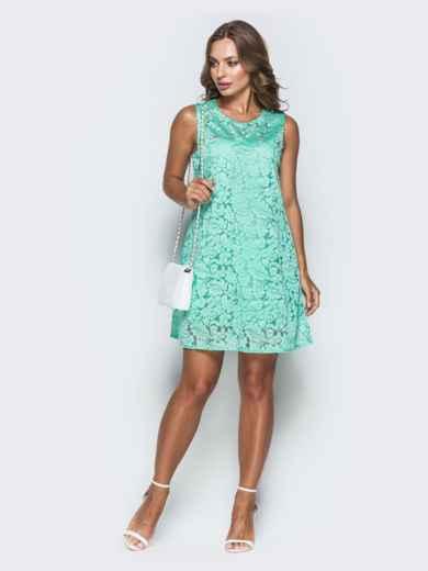Гипюровое платье-трапеция мятного цвета 25909, фото 1