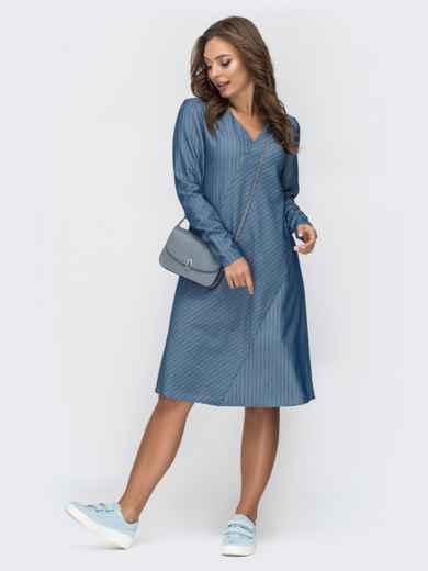 Голубое платье в полоску с V-вырезом 45008, фото 4