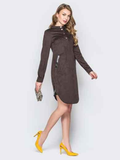 Коричневое платье с воротником-стойкой и кнопками - 19717, фото 2 – интернет-магазин Dressa