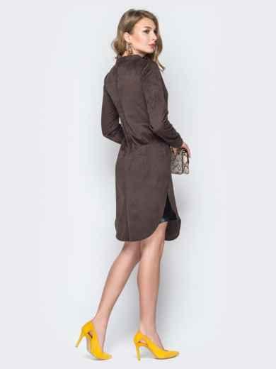 Коричневое платье с воротником-стойкой и кнопками - 19717, фото 3 – интернет-магазин Dressa