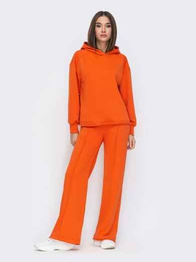 Оранжевый костюм с худи и брюками на резинке 53672, фото 1