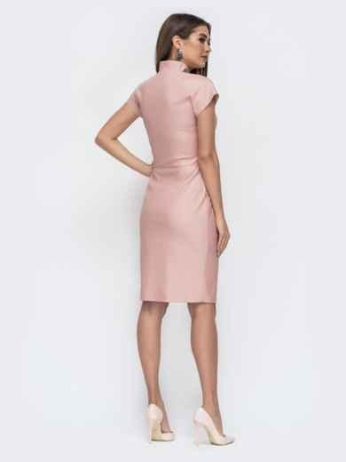 Платье на молнии со вшитым поясом розовое - 45047, фото 4 – интернет-магазин Dressa