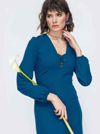Приталенное платье с разрезом спереди синее 45005, фото 1