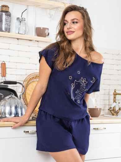 """Тёмно-синяя пижама из хлопка с вышивкой """"ёж"""" - 20429, фото 2 – интернет-магазин Dressa"""