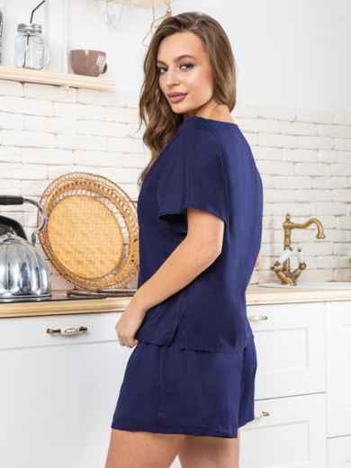 """Тёмно-синяя пижама из хлопка с вышивкой """"ёж"""" - 20429, фото 3 – интернет-магазин Dressa"""