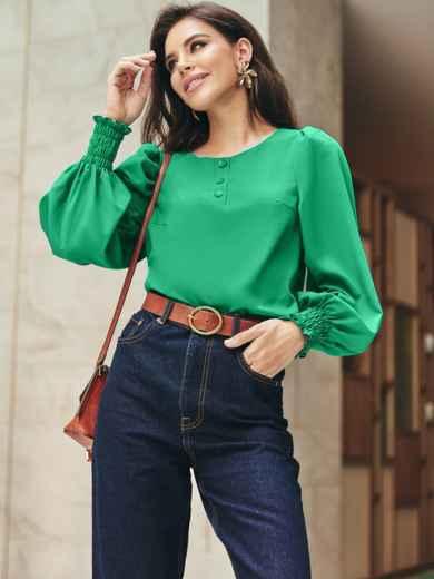 Зеленая блузка из хлопка с длинными объемными рукавами 54610, фото 1