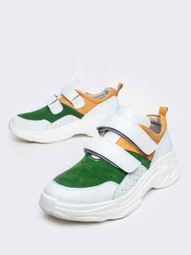 Зеленые кроссовки на липучках с контрастными вставками - 21418, фото 2 – интернет-магазин Dressa