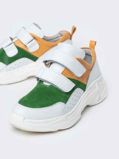 Зеленые кроссовки на липучках с контрастными вставками - 21418, фото 3 – интернет-магазин Dressa