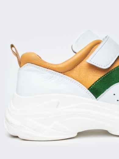 Зеленые кроссовки на липучках с контрастными вставками - 21418, фото 4 – интернет-магазин Dressa