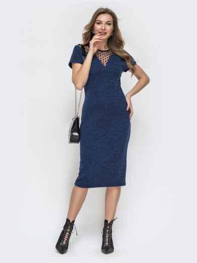 Облегающее платье с фатиновой кокеткой в горох синее 45355, фото 1