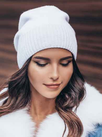 Белая зимняя шапка без помпона 14728, фото 1
