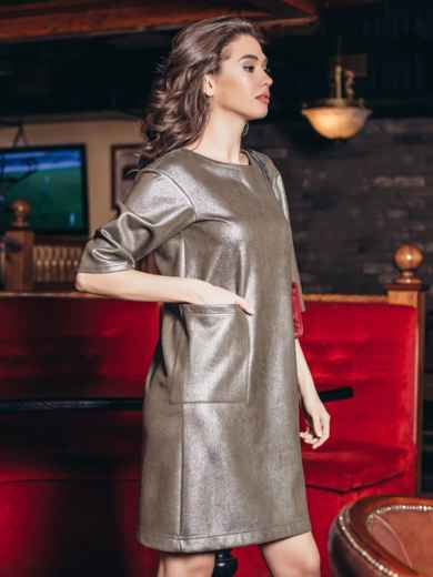 Бежевое платье из замши с напылением - 18675, фото 2 – интернет-магазин Dressa