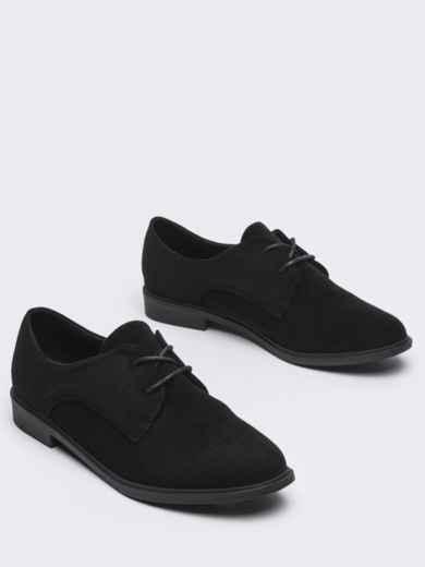 Черные туфли из нубука на низком ходу 50483, фото 2