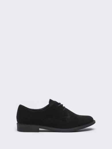 Черные туфли из нубука на низком ходу 50483, фото 3