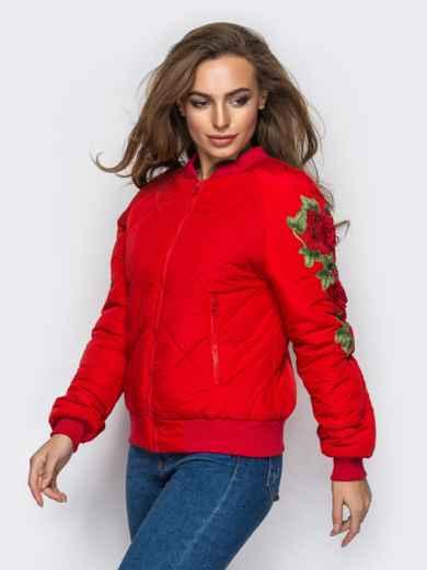 Демисезонная куртка с вышивкой на рукаве красная 15184, фото 1