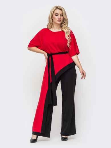Красный комплект батал с асимметричной блузкой и брюками-клеш 50737, фото 1